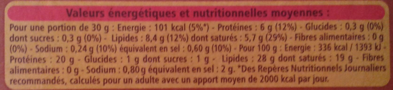 Val d'automne - Informations nutritionnelles - fr
