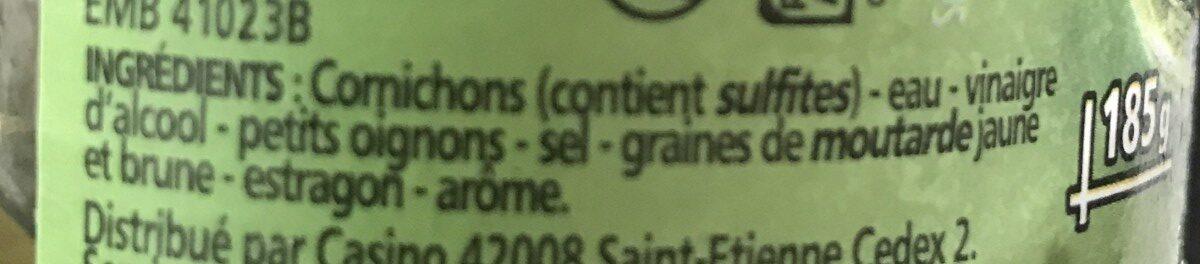 Cornichons extra-fins au vinaigre croquants - Ingrédients - fr