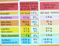 Riz long grain Camargue - Informations nutritionnelles
