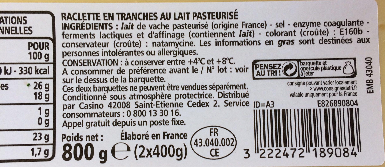 La Raclette en tranches - Ingrédients - fr