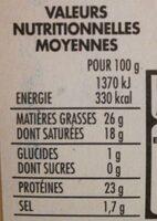 La Raclette en tranches - Informations nutritionnelles - fr