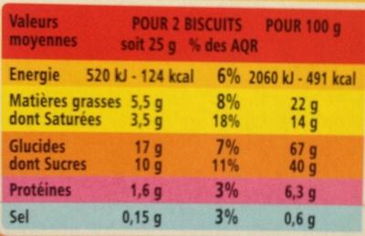 Biscuits Mention Bien Chocolat au lait - Informations nutritionnelles