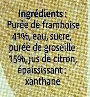 Coulis framboise groseille - Ingrédients