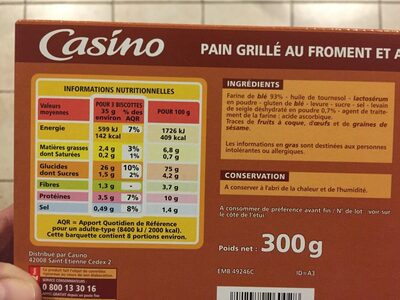 Pain.grille Campagnard 300G Casin - Informations nutritionnelles - fr