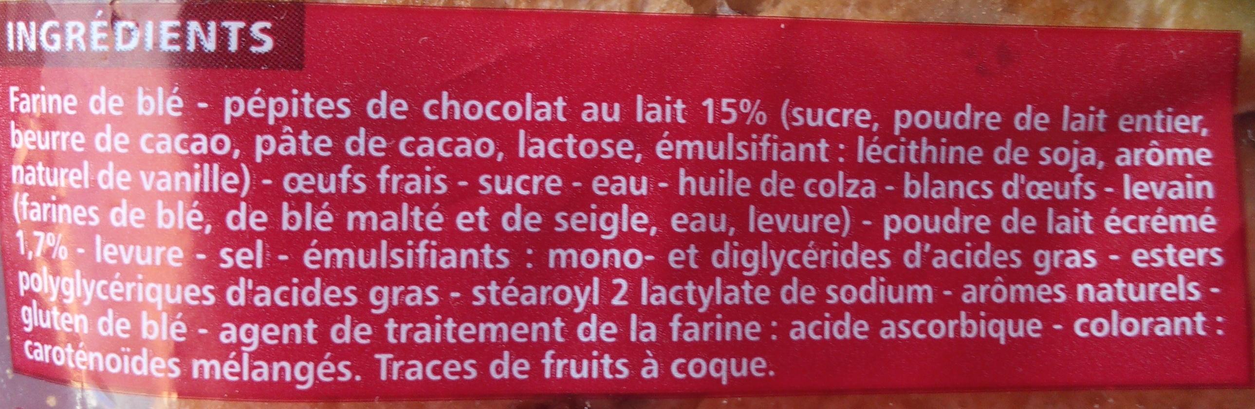 10 pains au lait aux pépites de chocolat au lait - Ingredients