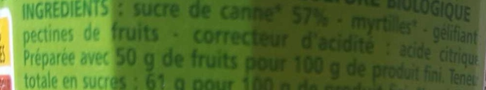 Myrtille confiture extra - Ingredients - fr
