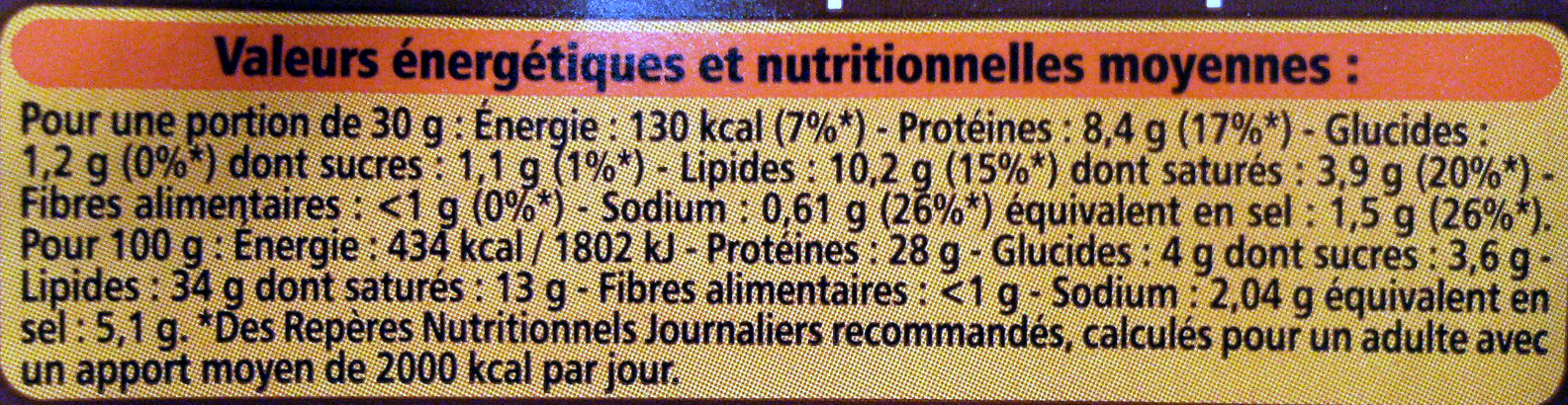 Saucisse sèche courbe pur porc qualité supérieure - Informations nutritionnelles