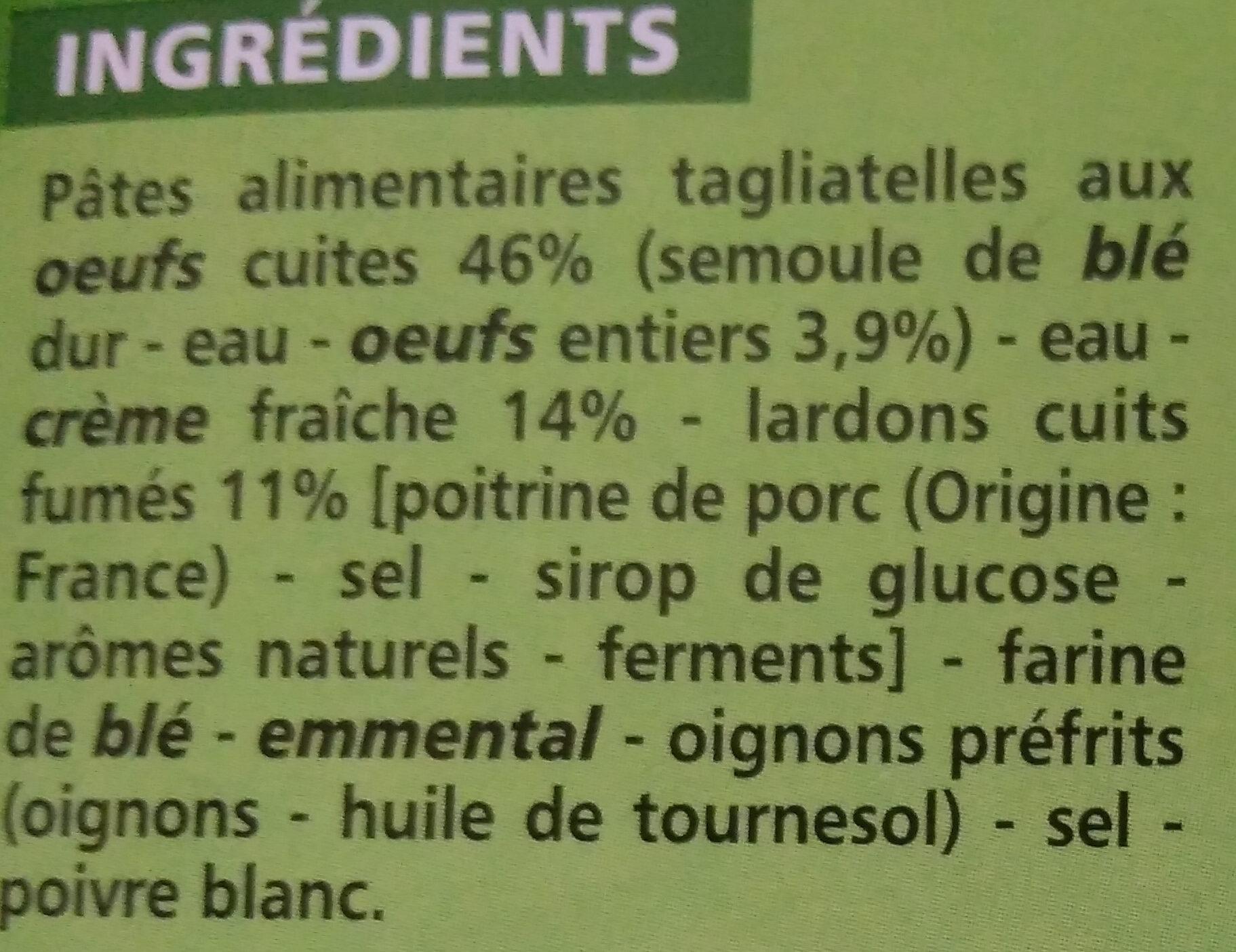Tagliatelles à la Carbonara - Ingrédients