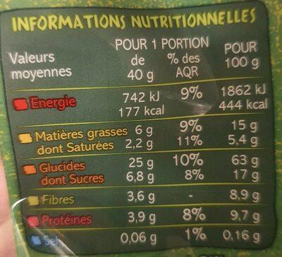 Muesli croustillant BIO au chocolat Casino Bio - Informations nutritionnelles - fr