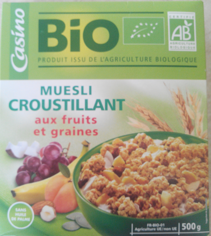 Muesli croustillant bio fruits et de graines casino bio - Produit