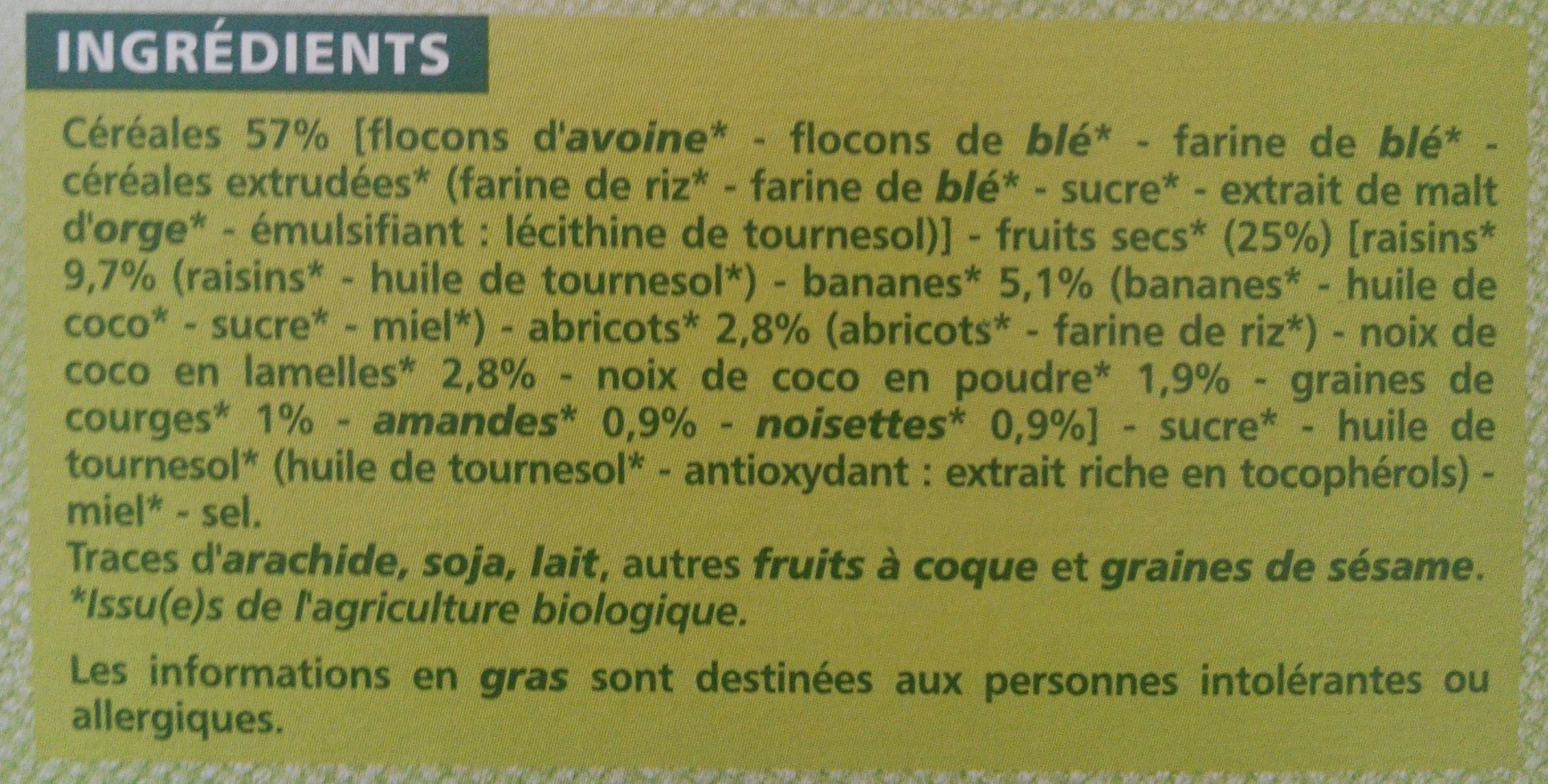 Muesli croustillant bio fruits et de graines casino bio - Ingrédients