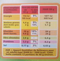 Muesli croustillant bio fruits et de graines casino bio - Informations nutritionnelles - fr