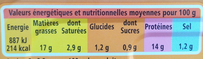 Filets de maquereaux à la moutarde à l'ancienne - Nutrition facts - fr