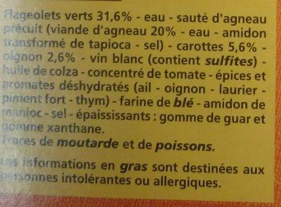 Sauté d'agneau aux flageolets verts et ses légumes - Ingrediënten