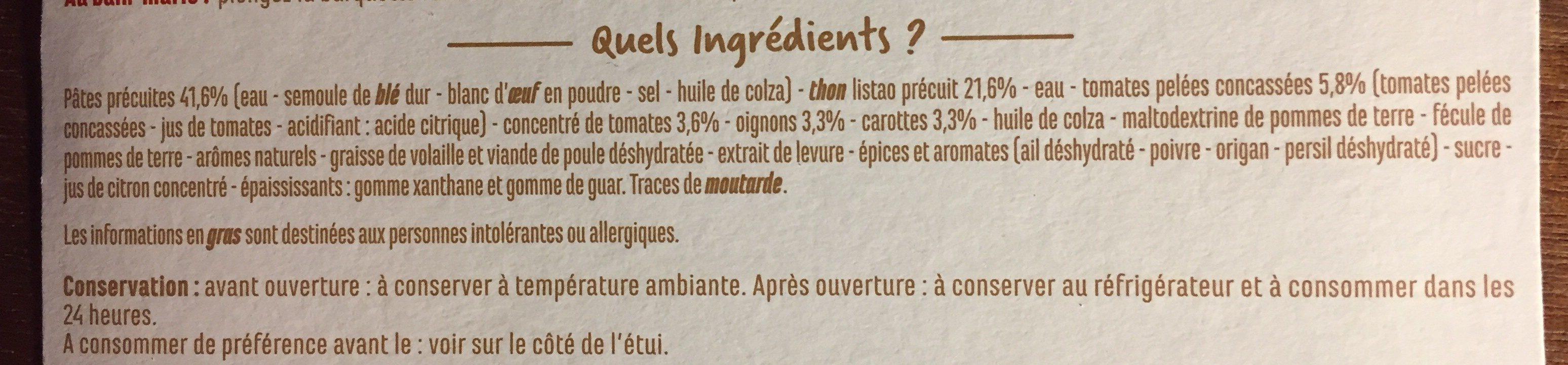 Thon à la tomate et ses penne - Ingrédients - fr