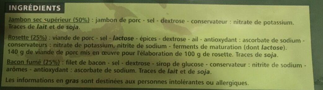 Assortiment de jambon sec, rosette et bacon fume - Ingrédients - fr