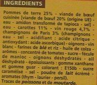 Boeuf bourguignon et ses pommes de terre - Ingrediënten - fr