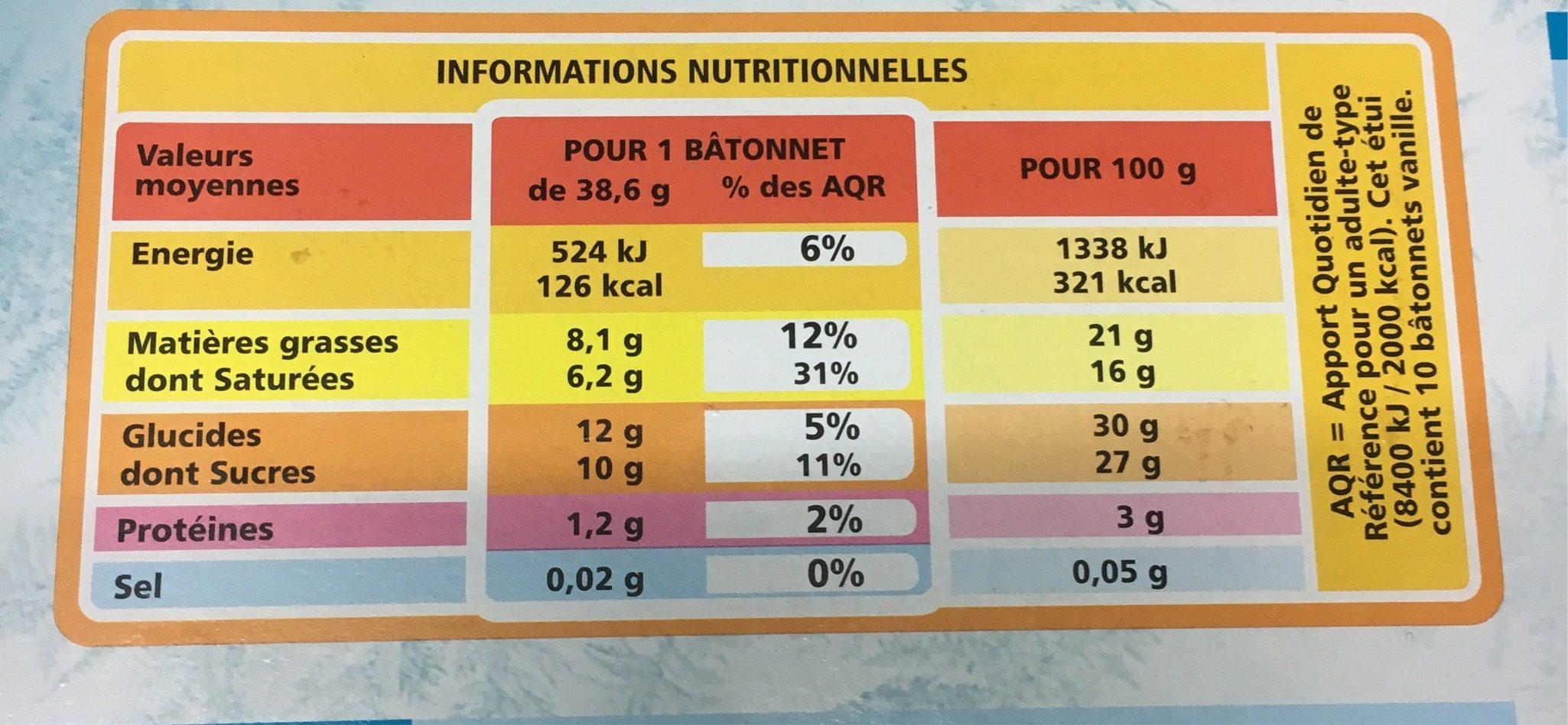 10 bâtonnets vanille - Nutrition facts