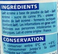 Le nature sucré - Au sucre de canne - Ingrediënten