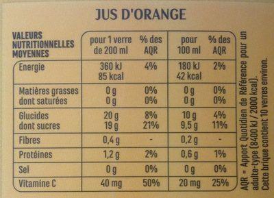 100% Pur Jus Orange - Valori nutrizionali - fr