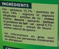 Velouté Poireaux pommes de terre - Ingrediënten - fr