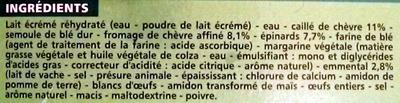 Lasagnes Chèvre-Épinards, Surgelées - Ingredients - fr