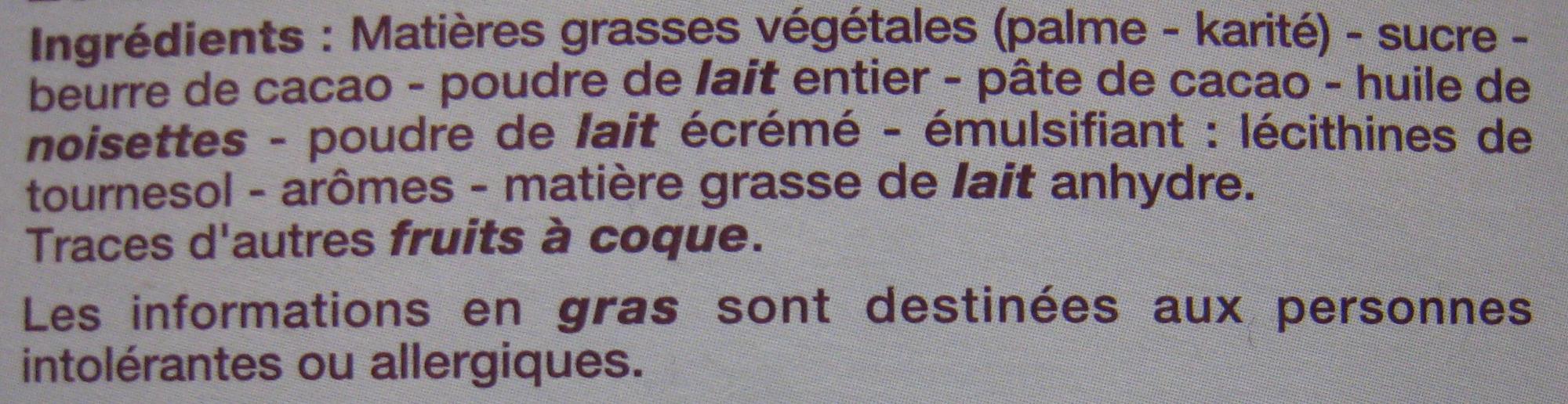 Rêves de chocolat Chocolats Fraîcheur Lait Beaumesnil - Ingredients