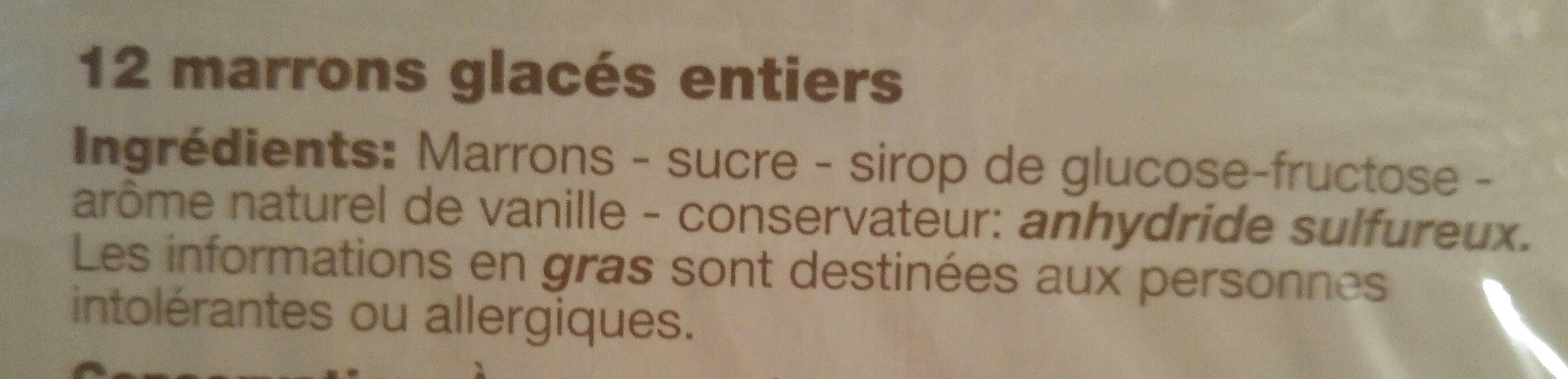 Marrons Glacés Entiers - Ingrédients - fr