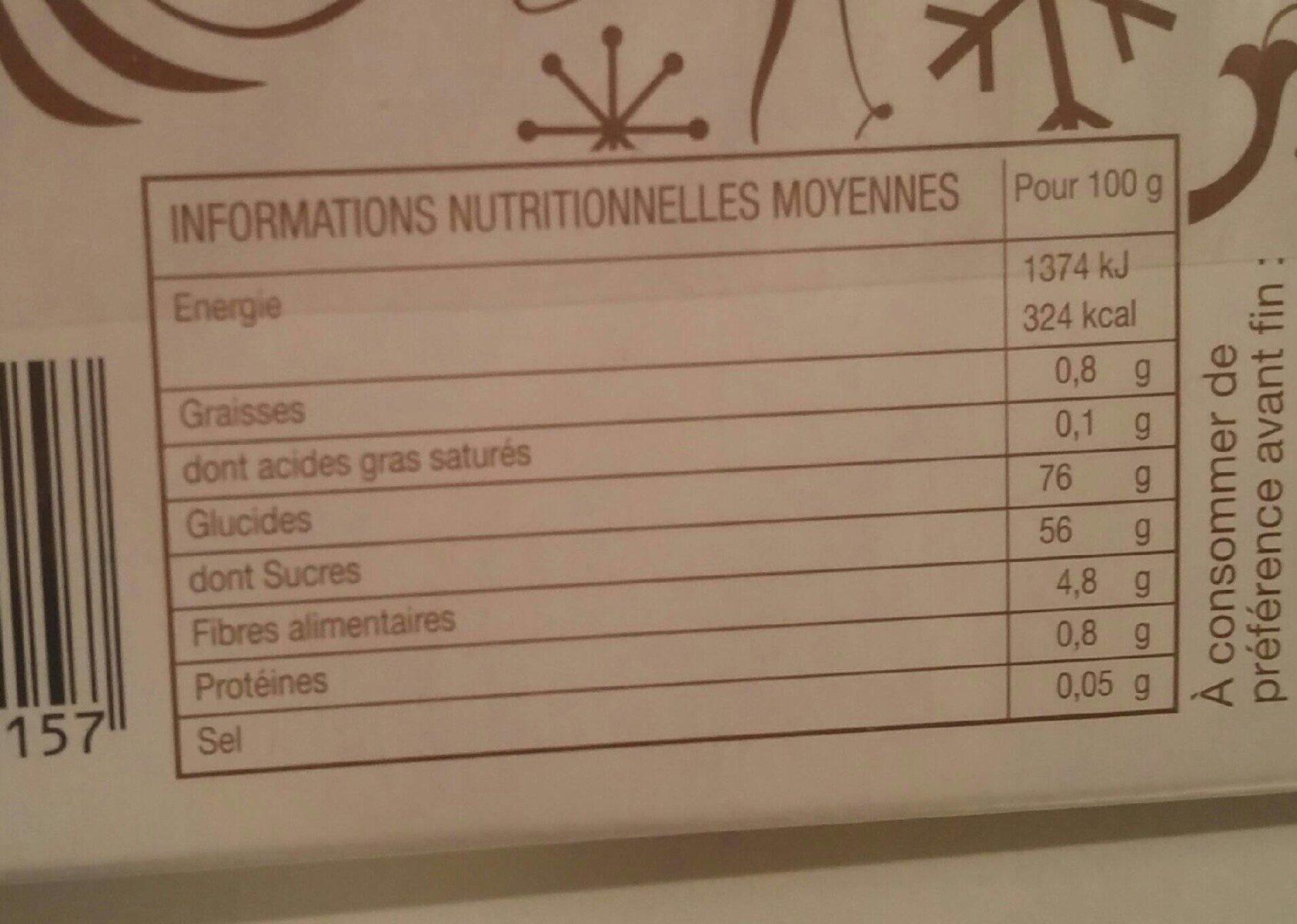 Marrons Glacés Entiers - Informations nutritionnelles - fr