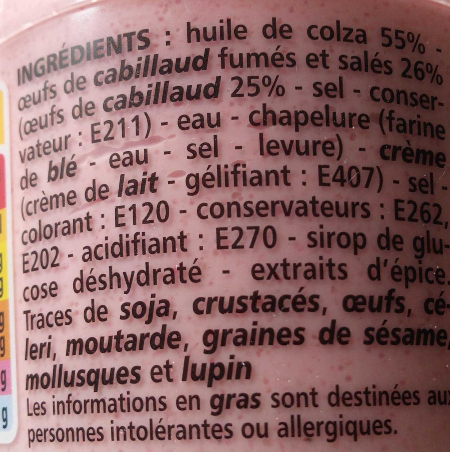 Tarama aux oeufs de cabillaud fumés - Ingredients