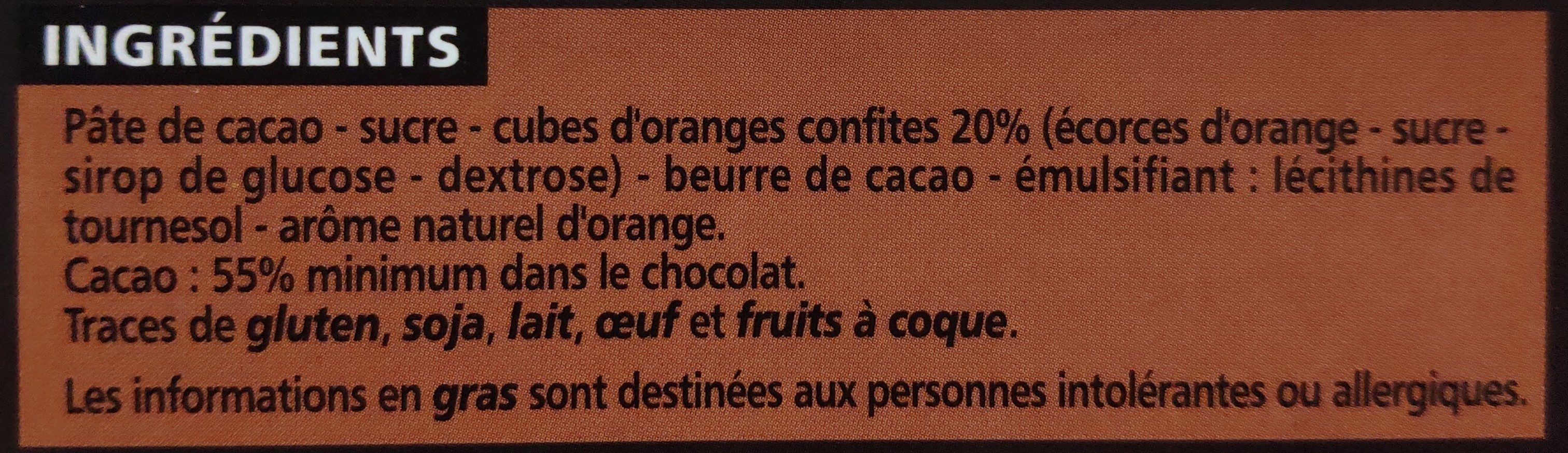 Chocolat Noir Orange Ecorces confites - Ingredients