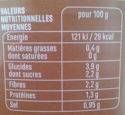 Légumes pour cousous - Informations nutritionnelles - fr