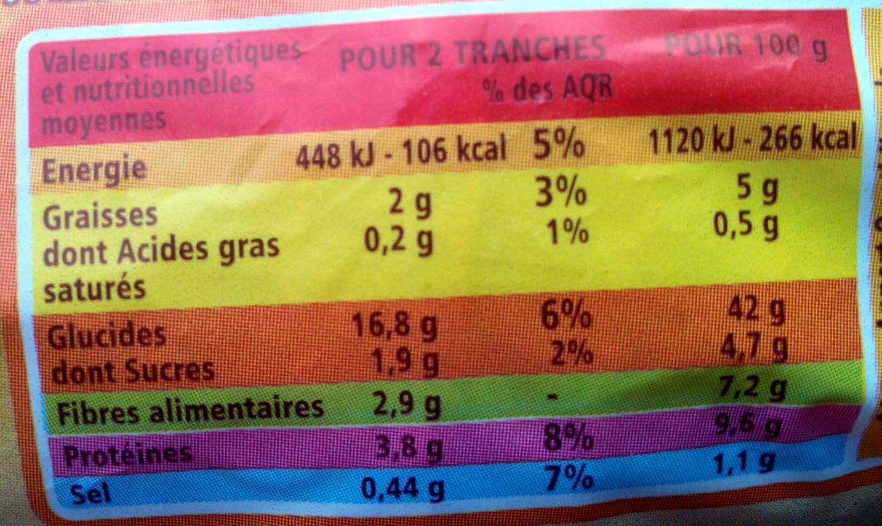 Pain de mie Extra Moelleux complet - Valori nutrizionali - fr