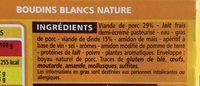 Boudins blancs Nature - Ingrédients - fr