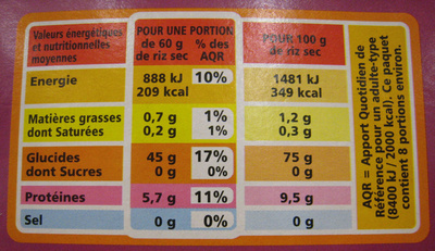 Riz Basmati naturellement parfumé bio - Nutrition facts - fr
