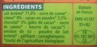 Crème dessert au chocolat Bio - Ingrédients - fr