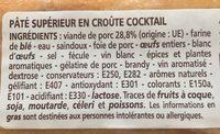 Pâté supérieur en croûte cocktail - Ingredienti - fr