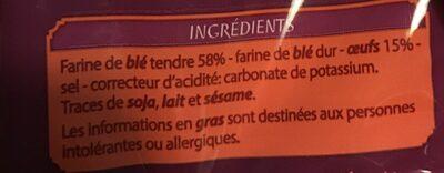 Nouilles aux oeufs - Ingrediënten - fr