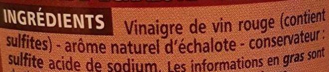 Vinaigre de vin rouge aromatisé à l'échalote 6% d'acidité - Ingredients - fr