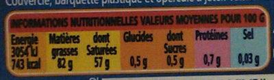 Beurre tendre doux - Informations nutritionnelles - fr