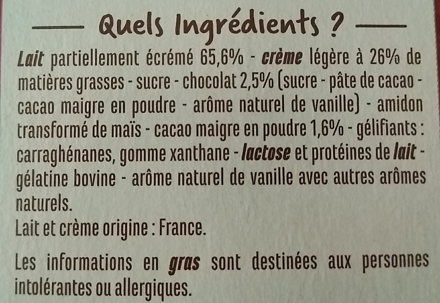 Gourmandise viennoise chocolat - Ingrédients - fr
