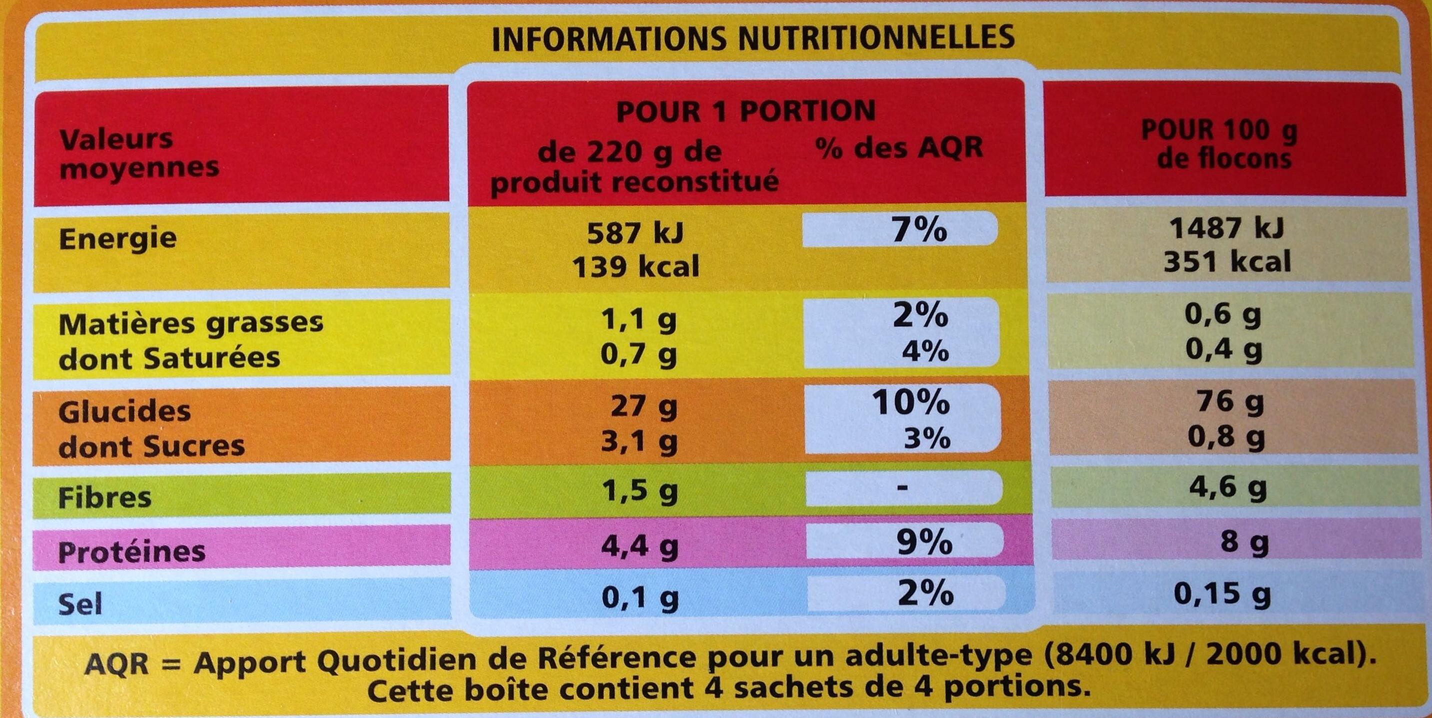 Purée nature - Purée de pommes de terre en flocons - Informazioni nutrizionali - fr