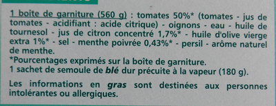 Taboulé royal à la menthe - Ingrédients