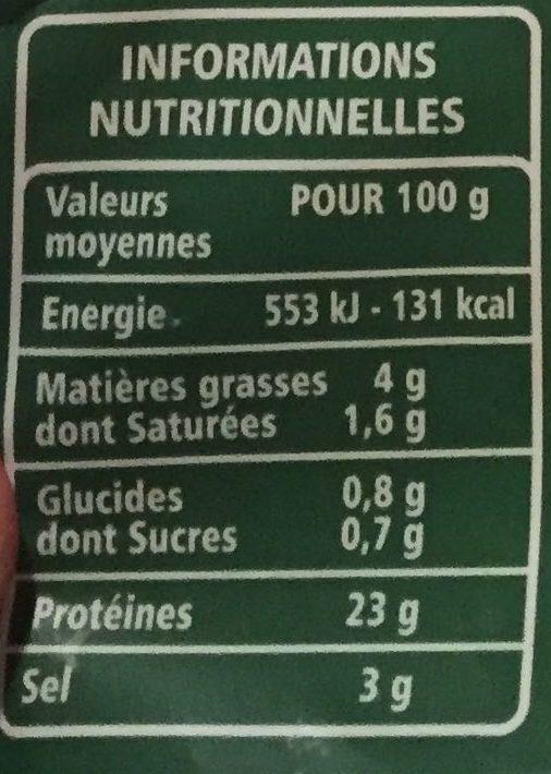 Filet de bacon fumé au bois de hêtre - Voedingswaarden - fr