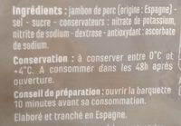 Jambon Serrano 10 mois d'affinage minimum - Ingrediënten - fr