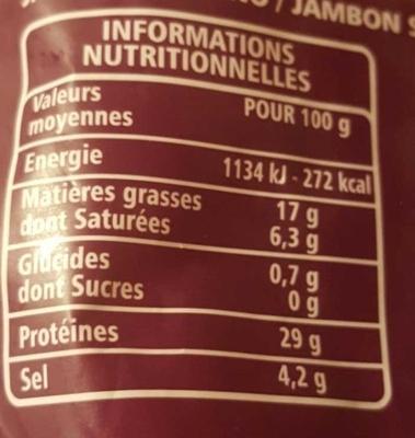 Jambon Serrano 10 mois d'affinage minimum - Voedingswaarden - fr