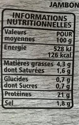 Jambon supérieur fines tranches découverte dégraissé decouenné - Casino - 120 g - 营养成分 - fr