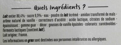 Yaourts brassés à la vanille - Ingredients