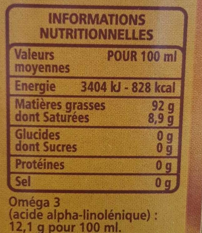 huile de noix valeur nutritionnelle