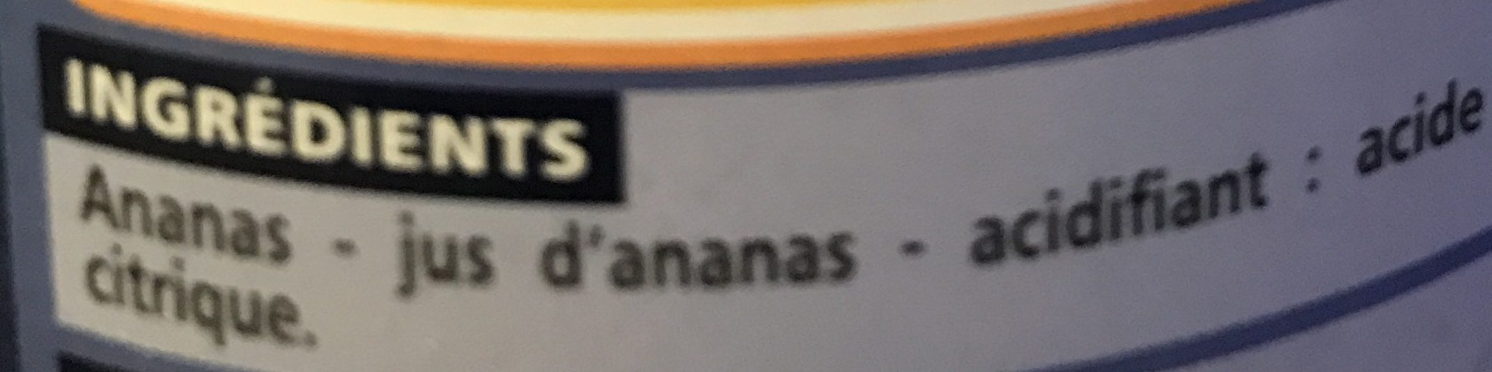 Ananas en morceaux au jus d'ananas - Ingrediënten - fr